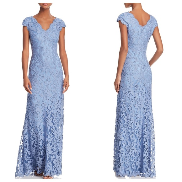 Tadashi Shoji Blue Cap Sleeve Illusion Lace Gown | Poshmark
